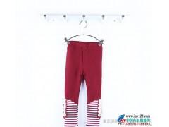 精品品牌童装折扣 秋冬新款 女童条纹拼接款 加绒加厚 打底裤 可